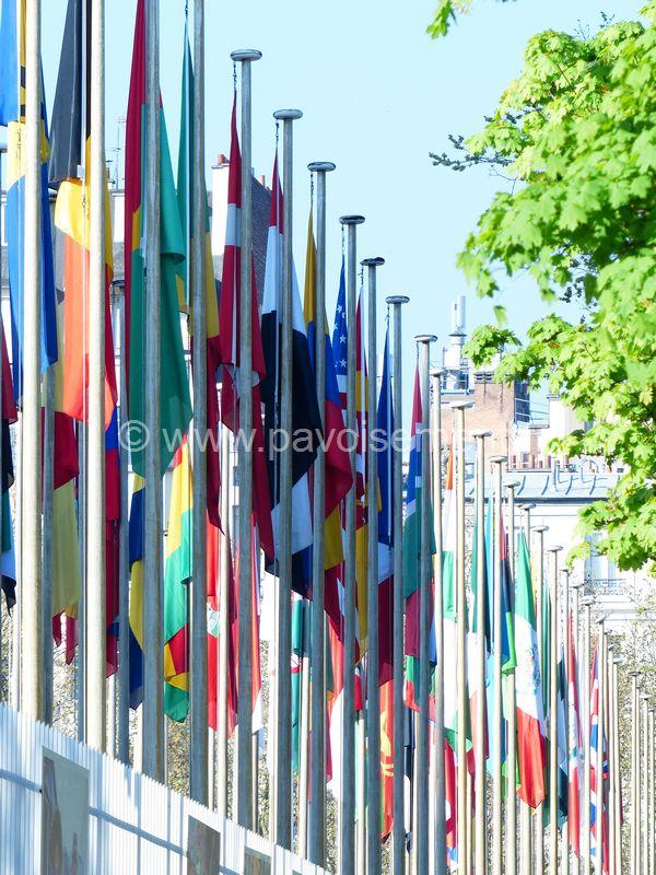 les drapeaux du monde - allée de pavillons du monde
