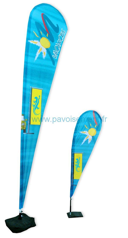 """drapeau publicitaire - deux modèles de voiles plume ou """"beach flag"""""""