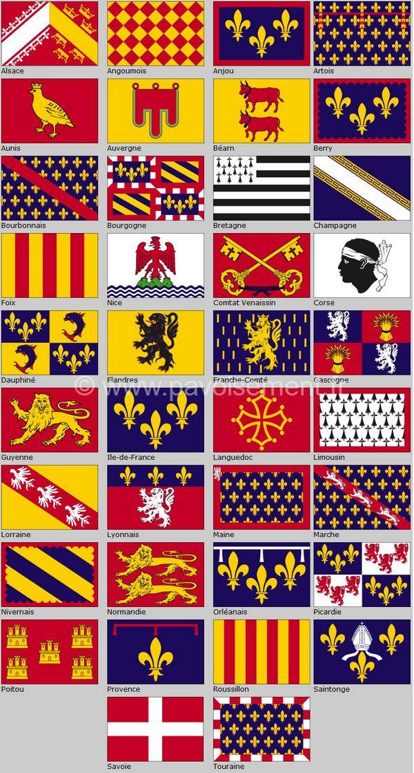 drapeau des provinces - armes des provinces de France