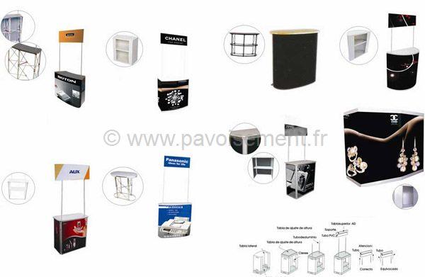 stand exposition - différent modèles de stands d'exposition avec ou sans fronton et étagères de rangement