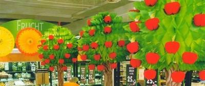 guirlande fanion : décor en papier avec arbres, soleils pour une GMS
